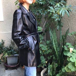 Vintage new black Identify leather coat